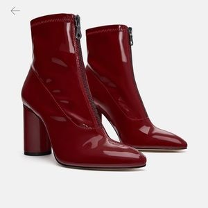 Zara Patent Red booties
